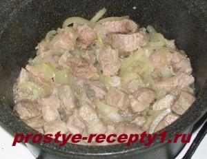 В толстостенной кастрюле обжариваем мясо и лук