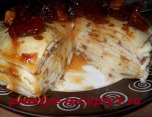 Блинный торт с заварным кремом и вареньем