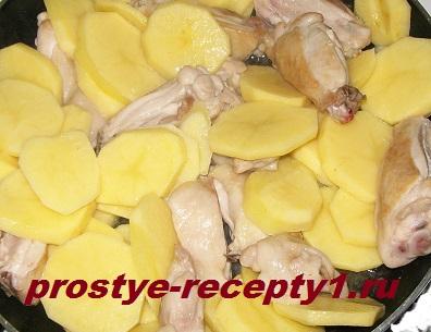 Нарезаем картофель кружочками и тушим с курицей 15-20 минут