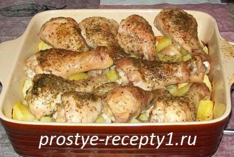 Куриные ножки в духовке с картошкой рецепт пошагово в